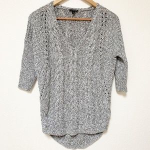 EXPRESS | Gray Cable Knit Quarter Sleeve Top XS